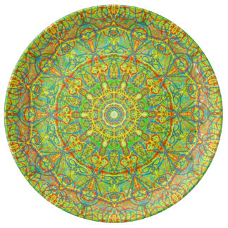 Scalloped Mandala kaleidoscope Seaside Abstract Plate