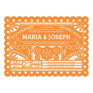 """Scalloped Papel Picado Wedding Invite - Orange 5"""" X 7"""" Invitation Card"""