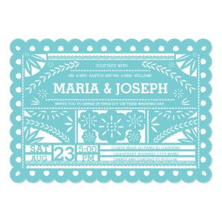 Scalloped Papel Picado Wedding Invite-Tiffany Blue