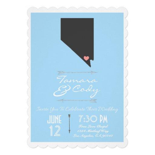 Scalloped Sky Blue Las Vegas Wedding Invitation