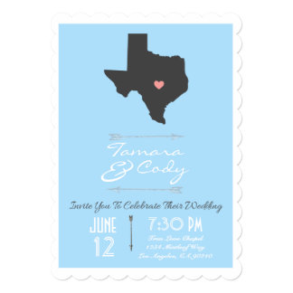 Scalloped Sky Blue Texas State Wedding Invitation