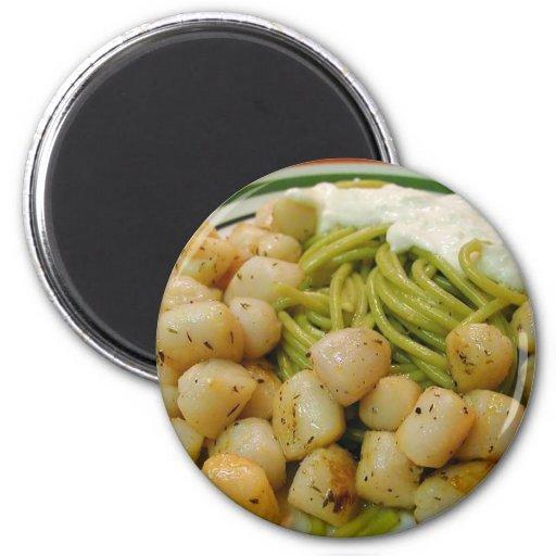 Scallops Seafood Pasta Food Dinner Refrigerator Magnet