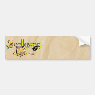 SCALLYWAG Text w/ Pirate Chest & Eye Patch Bumper Stickers