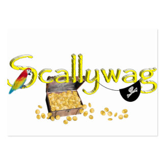 SCALLYWAG Text w/ Pirate Chest & Eye Patch Pack Of Chubby Business Cards