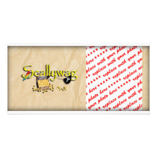 SCALLYWAG Text w/ Pirate Chest & Eye Patch Photo Card