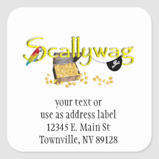SCALLYWAG Text w/ Pirate Chest & Eye Patch Square Sticker