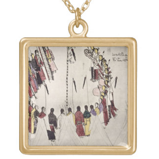 Scalp dance or victory dance (ink on paper) square pendant necklace