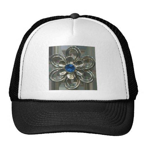 scan015 METAL FLOWER BLUE JEWEL JEWELERY FASHION S Hat
