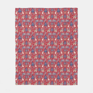 Scandi Christmas decor, red navy living room throw Fleece Blanket