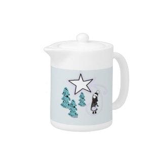 Scandi Christmas winter accent Teapot