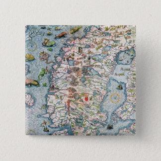 Scandinavia, detail from the Carta Marina 15 Cm Square Badge