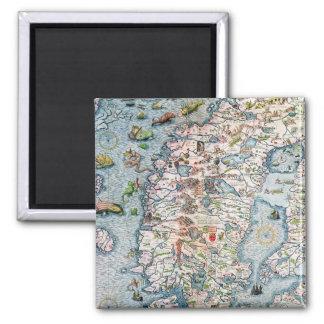 Scandinavia, detail from the Carta Marina Square Magnet