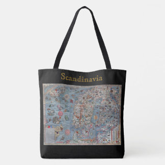 Scandinavia Vintage Old World Map Tote Bag