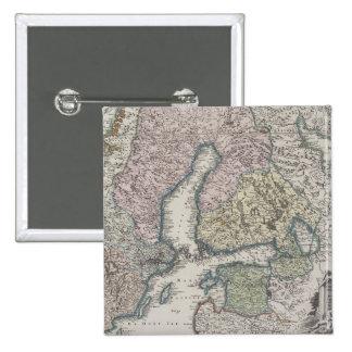 Scandinavian Antique Map 15 Cm Square Badge
