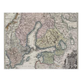 Scandinavian Antique Map Postcard