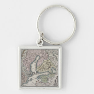 Scandinavian Antique Map Silver-Colored Square Key Ring