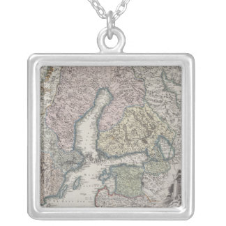 Scandinavian Antique Map Silver Plated Necklace