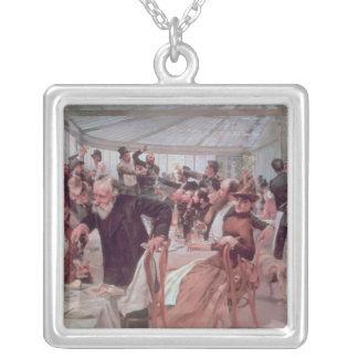 Scandinavian Artist's Luncheon Silver Plated Necklace