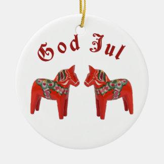 Scandinavian Christmas Dala Horse God Jul! Custom Round Ceramic Decoration