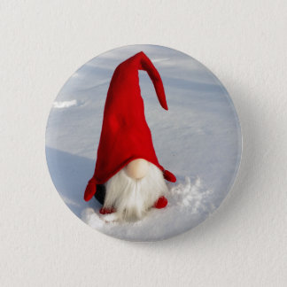 Scandinavian Christmas Gnome 6 Cm Round Badge