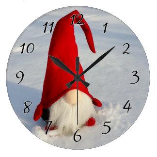 Scandinavian Christmas Gnome Large Clock