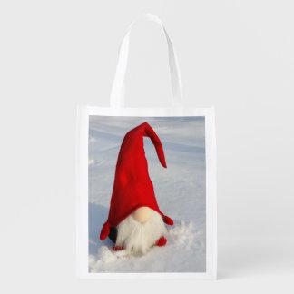 Scandinavian Christmas Gnome Reusable Grocery Bag
