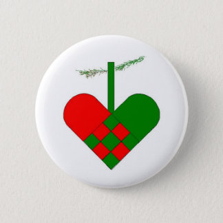 Scandinavian Christmas Heart 6 Cm Round Badge
