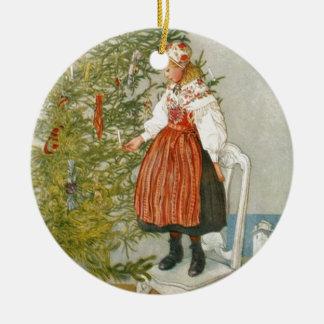 Scandinavian Christmas Round Ceramic Decoration