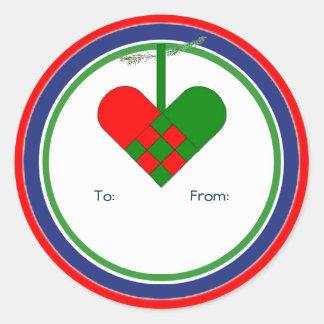 Scandinavian Christmas Straw Basket Gift Tag Round Sticker
