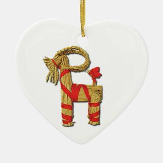 Scandinavian Christmas Straw Yule Goat Julbok Ceramic Heart Decoration