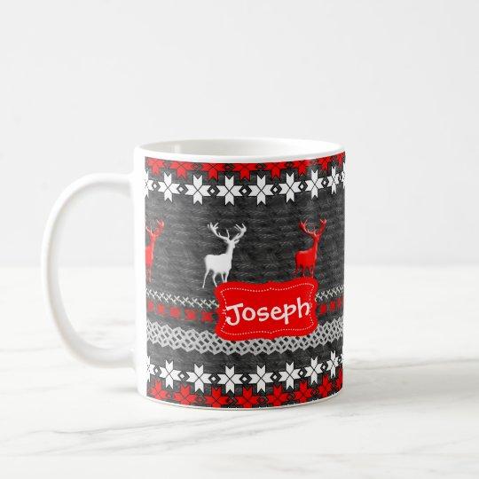 Scandinavian Deer Christmas Pattern Personalised Coffee Mug