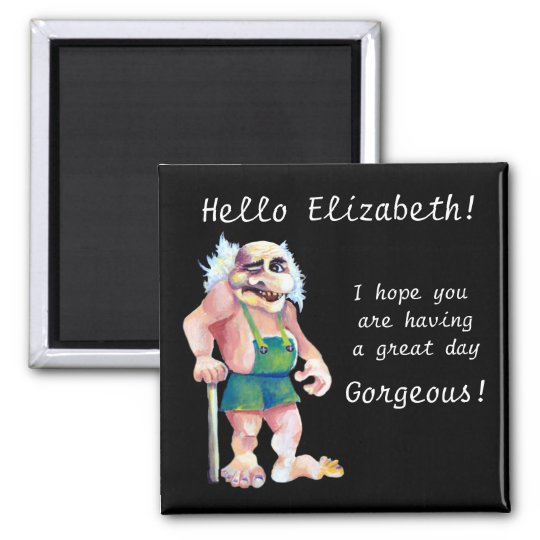Scandinavian Funny Looking Love Troll Square Magnet