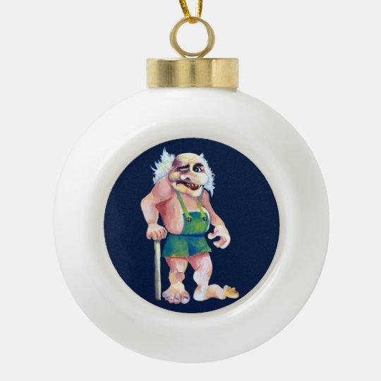 Scandinavian Funny Looking Ogre Troll Ceramic Ball Decoration