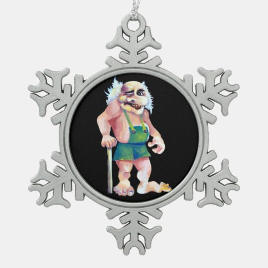 Scandinavian Funny Looking Ogre Troll Pewter Snowflake Decoration