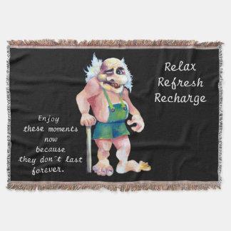 Scandinavian Funny Looking Ogre Troll Throw Blanket