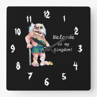 Scandinavian Funny Looking Welcoming Troll Square Wall Clock