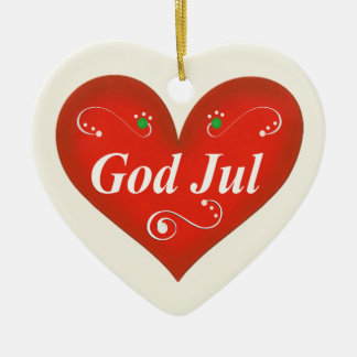 Scandinavian God Jul Christmas Heart Christmas Ornament
