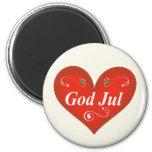Scandinavian God Jul Christmas Heart Refrigerator Magnet