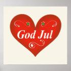 Scandinavian God Jul Christmas Heart Poster