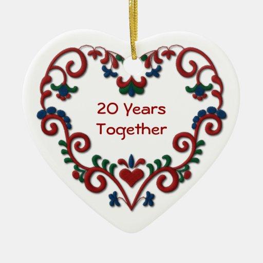 Scandinavian Heart 20 Years Together Christmas Tree Ornaments