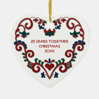 Scandinavian Heart 25 Years Together Photo Christmas Ornament