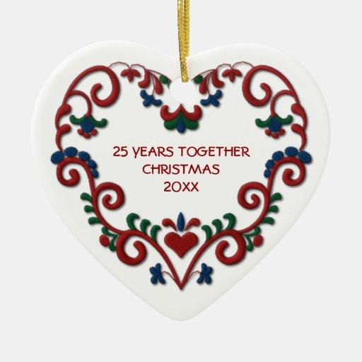 Scandinavian Heart 25 Years Together Photo Christmas Ornaments