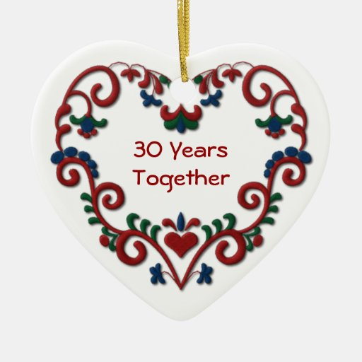 Scandinavian Heart 30 Years Together Christmas Ornaments