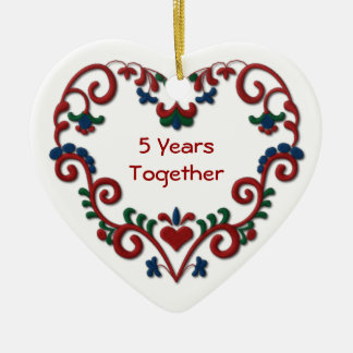 Scandinavian Heart 5 Years Together Anniversary Christmas Ornament
