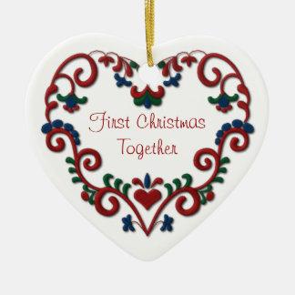 Scandinavian Heart First Christmas Together Ceramic Heart Decoration