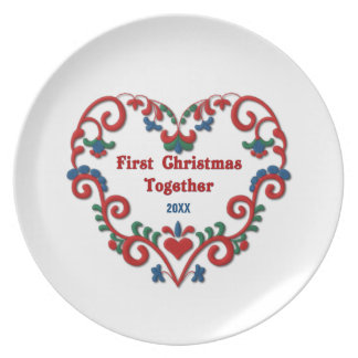 Scandinavian Heart First Christmas Together Custom Plate