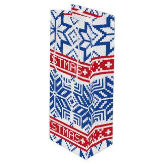 Scandinavian Merry Christmas Wine Gift Bag