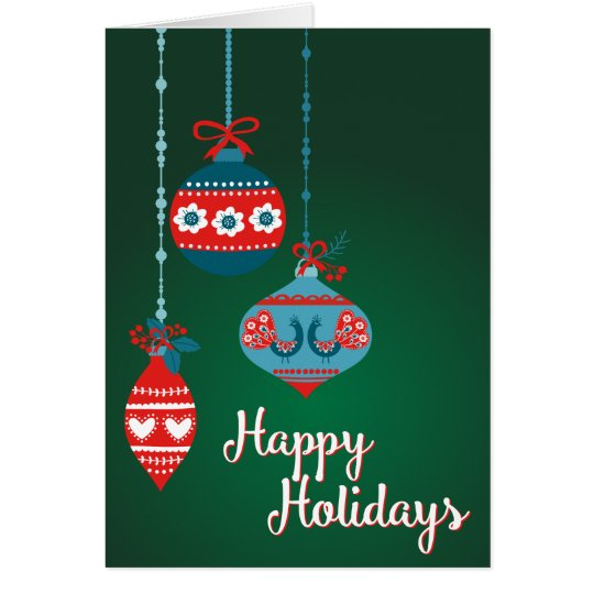 Scandinavian Ornaments Happy Holidays Card