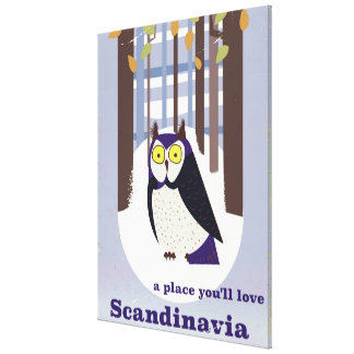 Scandinavian Owl in the forest Vintage poster Canvas Print