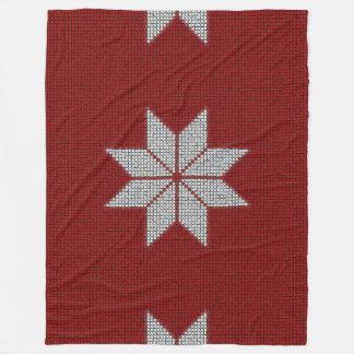 Scandinavian Snowflake Cross Stitch Fleece Blanket